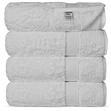 Chakir Turkish Linens Luxury Ultra Soft Bamboo 4-Piece Set Absorbent and Eco-Friendly, Bath Towels, White
