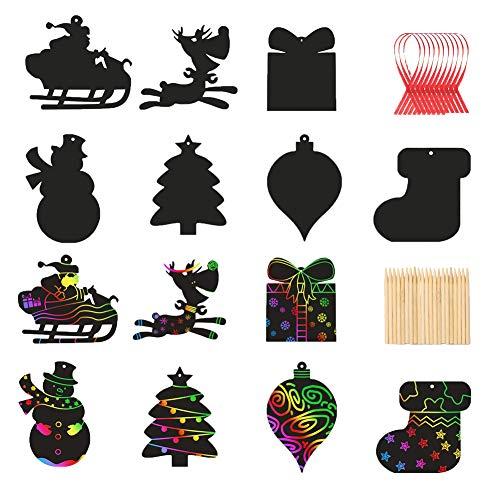 ENSTAB 35 Stück Weihnachten Kratzbilder Kinder Weihnachtsbaum Schmuck Regenbogen Papier Kratzpapier Set Weihnachten Party Mitgebsel für Jungen Mädchen