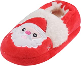 Annnowl Toddler Boys Girls Santa Claus Christmas Shoes Winter Warm Slippers