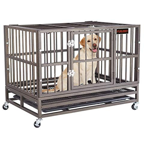 Heavy Duty Dog Crate, Strong Metal Pet Kennel Playpen with Two Prevent...