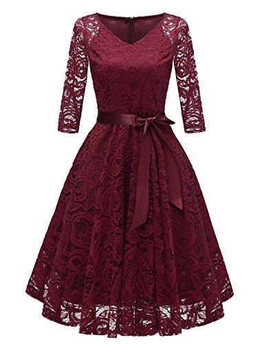 Laorchid Vintage Damen Kleid 3/4 Ärmel Floral Spitzenkleid Swing Cocktailkleid Burgundy L