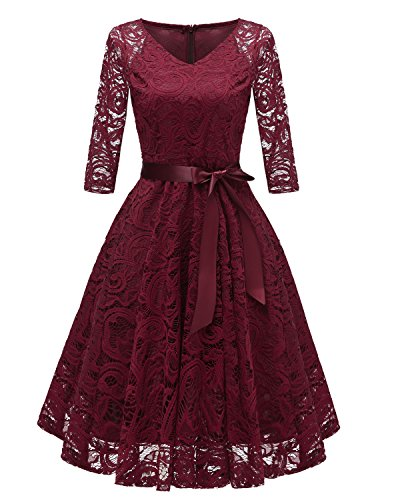 Laorchid Vintage Damen Kleid 3/4 Ärmel Floral Spitzenkleid Swing Cocktailkleid Burgundy S
