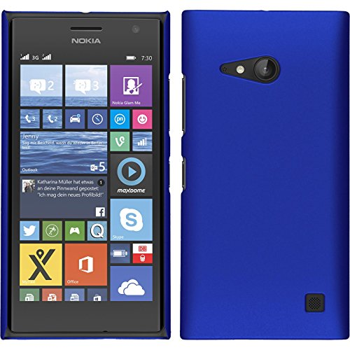 PhoneNatic Case kompatibel mit Nokia Lumia 730 - Hülle blau gummiert Hard-case + 2 Schutzfolien