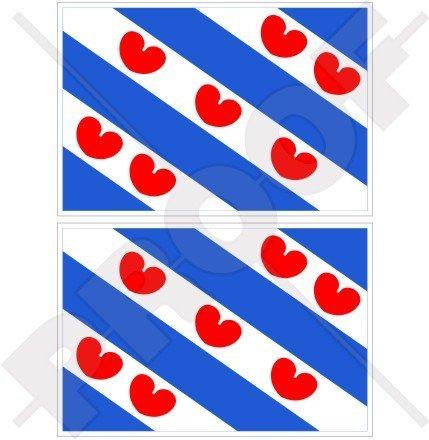 Friesland Friesland Flagge Niederlande, Fryslân Nederland (Dutch 7,6cm (75mm) Bumper Sticker, Aufkleber Vinyl X2