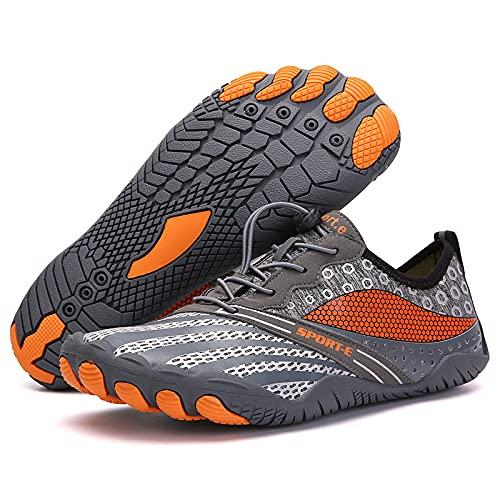 KUXUAN Zapatos de ciclismo-2021 nuevos zapatos de red de cinco dedos al aire libre senderismo versión deportiva zapatos de senderismo cross country escalada zapatos de correr, gris-35