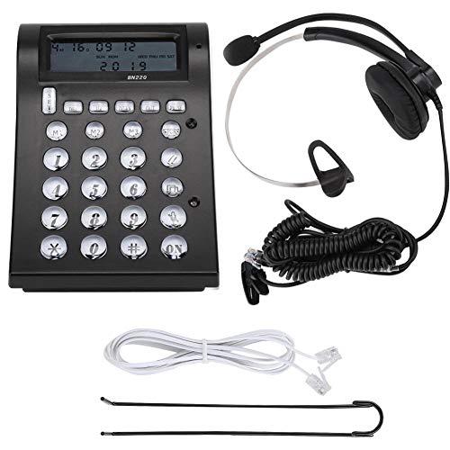 Vaste Callcenter Telefoon Vaste Telefoon,RJ11 Crystal Head Vaste Zakelijke Telefoon Vaste Lijn Met Ruisonderdrukkende Microfoon, Headset,LCD-scherm,Ondersteuningsgesprek FSK/Decodering(BN220 + A16-RJ)