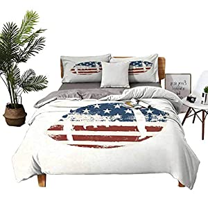 DRAGON VINES 4 Bedding Cover Set Bed Sheets Hotel Luxury Bed Sheets Grunge American Flag Themed Stitched Rugby Ball Vintage Design Football Theme Cream Blue Red Breathable Fabric