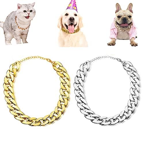 Collar de cadena de oro para perro, 2 unidades de collar de cadena de eslabones de plástico dorado para gatos, joyería de aspecto de metal para mascotas y accesorios.