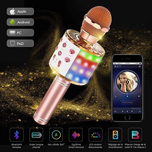 Micrófono Karaoke Bluetooth, Karaoke Micrófono inalámbrico 4 en 1, portátil, bolsillo, doble altavoz, micro máquina para KTV, karaoke, niños y adultos, compatible con Android/ios/PC