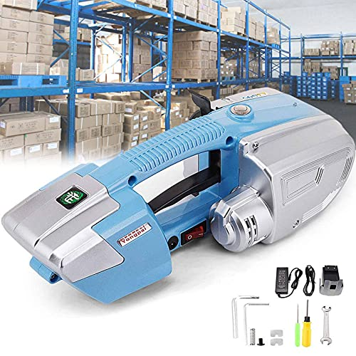 LIMEID Automatic Strapping Tool for 1/2-5/8Inch PP/PET Straps 3000mAh Battery Plastic Strapping Tool for Box Pallet Electric Strapping Machine Banding Tools for Strapping,Blue