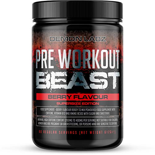Pre Workout Beast (Berry Flavour) - Hardcore pre-Workout Supplement with Creatine, Caffeine, Beta-Alanine and Glutamine (Supersize - 612 Grams - 80 Servings)
