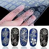 Autocollants pour ongles Tia-ve 108pcs en 3D fleuri pour nail art (argent) (Silver)
