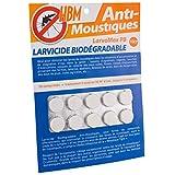 LarvoMax Larvicide Biodégradable Anti-Moustiques Blister 10 Comprimés Résine Blanc...