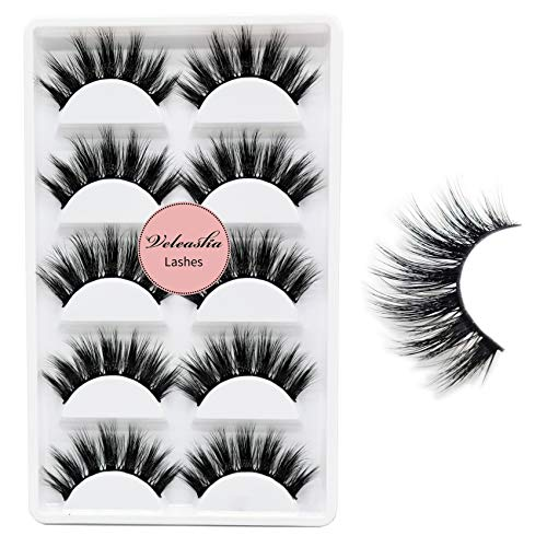 Veleasha 5D Faux Mink Lashes Handmade Luxurious Volume Fluffy Natural False Eyelashes 5 Pairs | Dubai