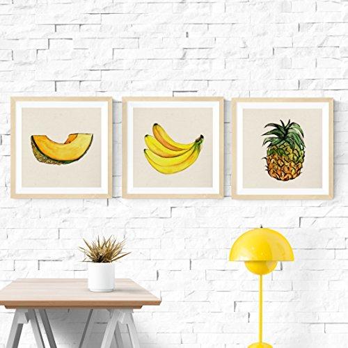 Nacnic Set 3 Stampe artistiche Vintage. Poster Quadrati di Frutti Tropicali. (Banana, Ananas, Melone). Motivi Estivi con Immagini per arredare la Tua Cucina. Decorazioni domestiche.