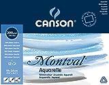 'Canson 200006533AQ Montval Fein Aquarelle, 300g/m², 12hojas por bloque 'encolado alrededor, 19x 24cm, color blanco