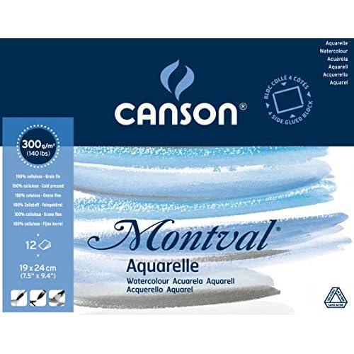 CANSON Montval® - Blocco per acquerelli, 19 x 24 cm, 12 fogli, 300 g/m², grana fine