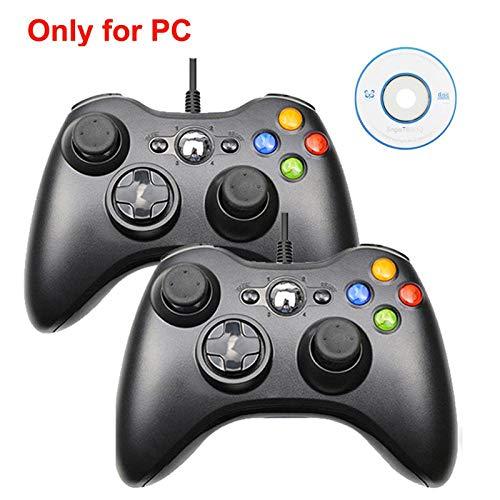 HDHL Mando Joystick de Juego de vibración con CableUSBparaelControlador dePC con Windows2PcsBlackforpc