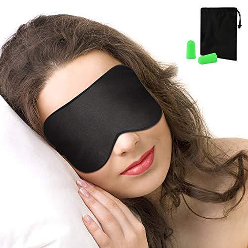 Schlafmaske, Nasharia Augenmaske Nachtmaske Verstellbarem Gummiband 100{6649b876657d7a917750e91bb4d52444c1ecd10c1af2ca60e7eb389f2c15e5b4} Hautfreundlich Seide Geruchneutral Schlafbrille für komplette Dunkelheit - Schwarz