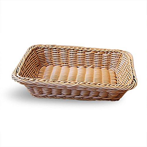 Gfhrisyty Marron Claro Cesta de Almacenamiento Tejida a Mano de Manera Simple Cesta de Fruta alimento de Rota Cesta de Pan de Rota de Imitacion 30 x 20 x 7cm