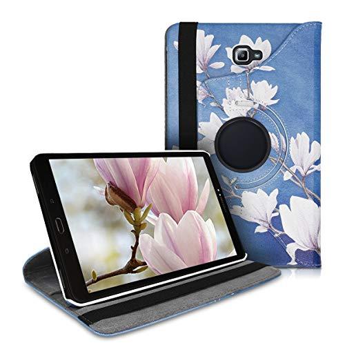 kwmobile Schutzhülle kompatibel mit Samsung Galaxy Tab A 10.1 T580N/T585N (2016) - Hülle 360° - Tablet Cover Case - Magnolien Taupe Weiß Blaugrau