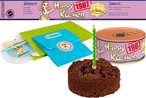 Happy Kuchen   Kuchen in der Dose   Personalisiert mit Wunsch- Geburtsjahr, Namen und Geschmack   Geburtstagsgeschenk   Geschenk   Geschenkidee (Schoko-Kirsch, Geburtsjahr 1987)