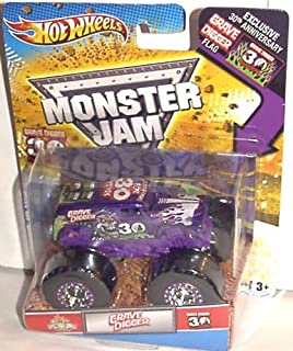Hot Wheels 2012 Grave Digger 30TH Anniversary 1:64 SPECTRAFLAME Purple Grave Digger Monster JAM Truck with Exclusive 30TH ANNV. Grave Digger Flag