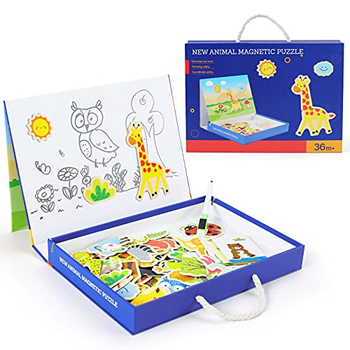 QZMTOY Magnetic Puzzles Art Animals Wooden Puzzles Game to Toddlers Drawing Board Jigsaw Puzzle Set-...