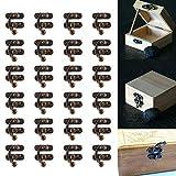 30 Piezas Candado de Bronce, BESTZY Conjunto de Pestillo de Caja Candado de Bronce Gancho con Tornillos para Cajón Gabinete Joyas Caja de Madera
