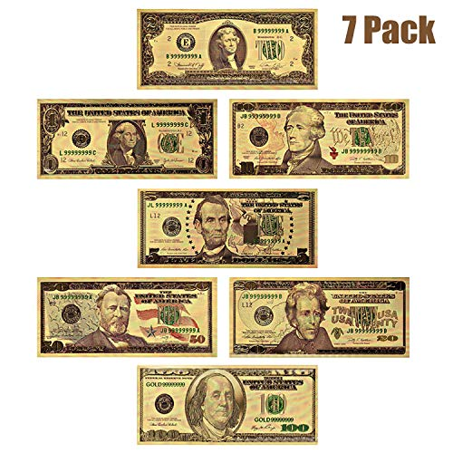 LONG7INES USA President 1/2/5/10/20/50/100 Dollar Bill Banknote, 24k Gold Coated Legacy Limited Edition Chief Executive Banknote Bill Great Gift for Coin Currency Collectors and Republican (7 Pack) (Best Money Making Methods Runescape)