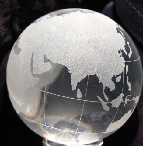 Yeti-Gold Glaskugel 8cm Globus