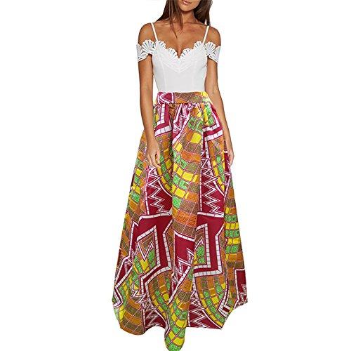 CLOCOLOR Falda Larga Plisada Encaje con Estampado Exótico Africano para Mujer Talla Grande Casual Cintura Alta Falda Vintage Longitud Maxi con Bolsillo, Marrón L (Cintura 74cm)