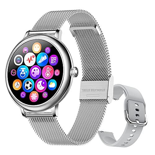 FMSBSC Smartwatch Mujer Relojes Inteligentes con Ciclo Menstrual Femenino Pulsómetros Podómetro Cronómetros Monitor de Sueño & Presión Arterial Pulsera Actividad Inteligente para Android iOS,Plata