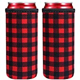 2 PCS Colourful Neoprene Beer Cooler Beer Coolies Beer Holders Perfect for 12oz Slim Drink Beer Cans, Red Bull, Spiked Seltzer,White Claw (Christmas Red)