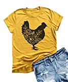 Womens Farm Life Tees Cute Floar Chicken Graphic T Shirt Short Sleeve Country Tops (L, Yellow)