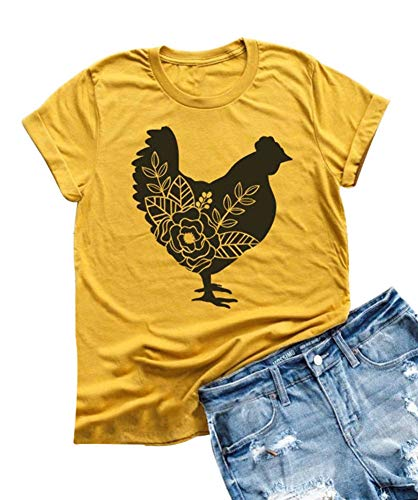 Womens Farm Life Tees Cute Floar Chicken Graphic T Shirt Short Sleeve Country Tops (S, Yellow)