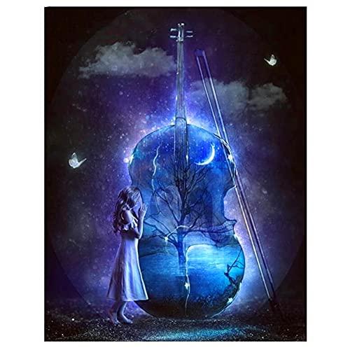 DIY 5D Diamante Pintura Completo kids Kits Chica de violín de fantasía Diamond Painting de Imitación de Cristal de Bordado Punto de Cruz lienzo Como Regalo Odecoración de Pared Regalo 30x40cm T1708