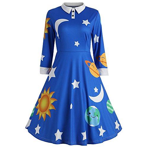 CHARMMA Women's Vintage Peter Pan Collar Planet Print A Line Flare Party Dress (Blue, XL)