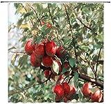 N\A Roter Apfel Duschvorhang Dekor Grün Blätter Apfelbaum Badezimmer VorhangPolyester Stoff Maschine Waschbar mit 12 Stück Haken