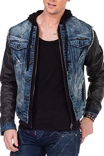 Cipo & Baxx Herren Jeansjacke Sweatjacke Übergangsjacke Kapuze Designer Kunstlederärmel Denimjacke Jacke mit Sweatkapuze Gr.XL Blau