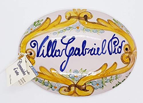 Targhe Numeri Civici Ovale Insegne Porta Ingresso Ceramica Realizzato e dipinto a mano Le Ceramiche del Castello Nina Palomba Made in Italy Dimensioni a scelta