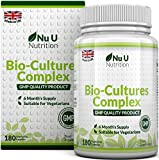Bio-Cultures 180 Capsules (6 Month Supply) | Vegetarian Multi Strain | High Strength Cultures Includes Lactobacillus Acidophilus & Bifidobacterium | Capsules not Tablets by Nu U Nutrition