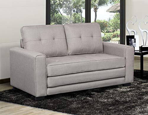 US Pride Furniture Daisy Modern Fabric Loveseat and Sofa Bed, Light Grey