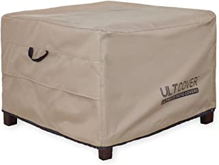 ULTCOVER Waterproof Patio Ottoman Cover Square Outdoor Side Table Furniture Covers Size 22L x 22W x 18H inch