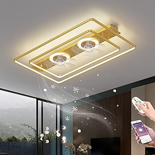 Ventilador de Techo con mando y cambia color LED lámpara de techo con ventilador Plafon de techo Regulable Luz Del Ventilador Silencioso para dormitorio salón
