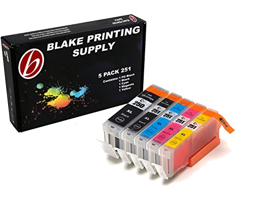 Blake Printing Supply 5 Pack Compatible Ink Cartridges for PIXMA MG5520