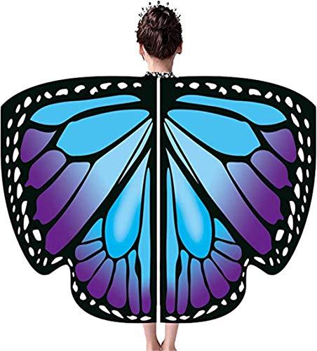 EONGERS Butterfly Wings for Girls Kids Halloween Costume Fairy Shawl Festival Rave Dress (Blue Purple Butterfly)