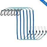 ColorGo スパイラルコード 尻手ロープ 小物紛失防止カールコード ワイヤー内蔵 最大伸長1.5m/3m 釣りロープ 伸縮コード アルミ合金カラビナ ルアー 釣り用アクセサリー 6本/8本セット (3M ブルー6本)