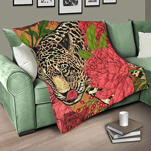 HMML Blanket Quilt Throw Red Rose Animal Leopard Reversible Quilt Throw for Sofa Bed Couch White 91x110inch