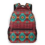 Casual Mochila Mochila bolsas de libros, colorido retro del sudoeste americano nativo tribal de Navajo Azteca Modelo étnico All Seasons unisex de gran capacidad durable de escuela al aire libre diari